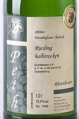 Das Bild zeigt ein Weinflaschenetikett aus dem Hause Peth.